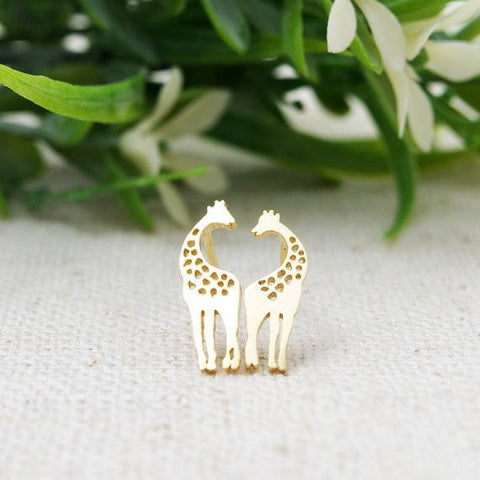 Earrings - 1pair Gold Silver Pink Gold Loving Giraffes Stud Earrings