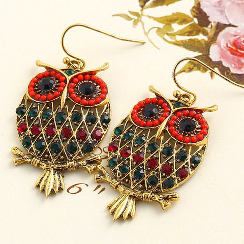 Earrings - Colorful Rhinestone Owl Drop Earrings