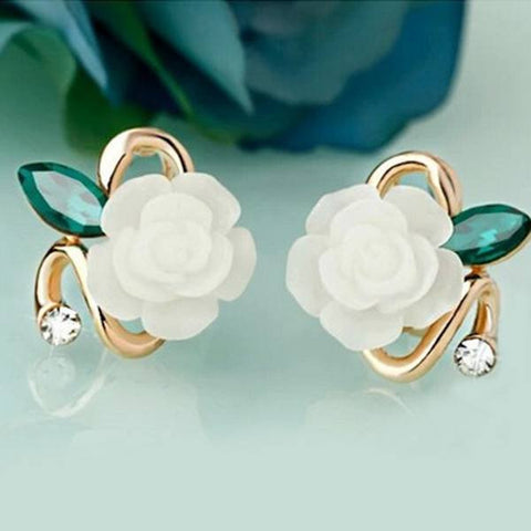 Earrings - Elegant Charming Resine Rhinestone Crystal White Rose Stud Earring - On Sale