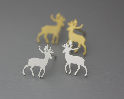 Earrings - Gold Silver And Rose Gold Plated Rudolph Deer Animal Studs Earrings