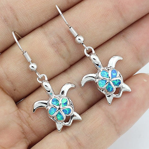 Earrings - Lovely Blue Fire Opal Women Fashion Jewelry Earrings - Turtle
