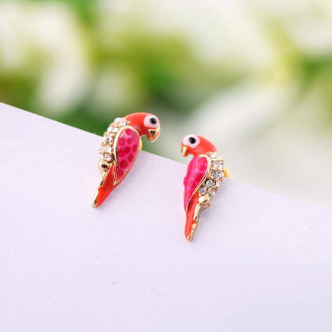 Earrings - New Fashion Charms Crystal Earrings Loverly Animal Red Bird Studs Hot Pink Cute Earrings
