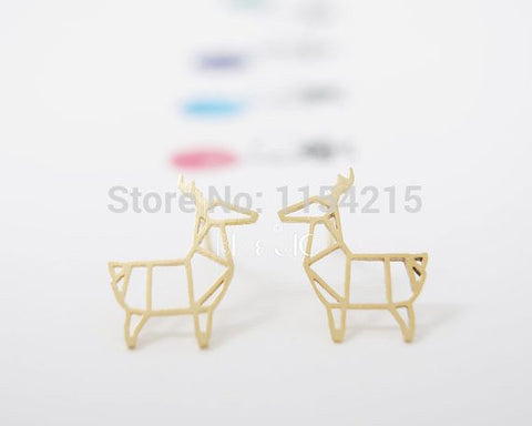 Earrings - New Fashion Gold Silver Rose Gold Cute Funky Origami Deer Stud Earrings