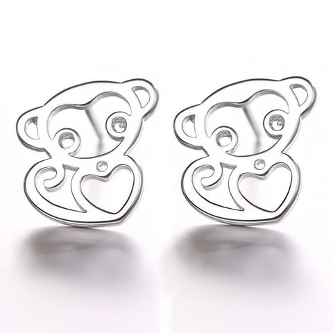 Earrings - Silver Stud Earrings Jewelry NewCute Monkey