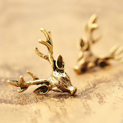 Earrings - Sunshine 24mm Vintage Deer Antlers Stud Earrings Antique Bronze Earrings