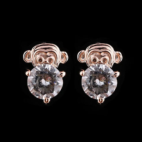 Earrings - Trendy Women/Girl's 18k Yellow Gold Plated CZ Diamond Monkey Pierced Stud Earrings Fashion Jewelry