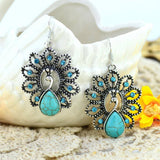 Earrings - Turquoise Earrings Crystal Water-Drop Peacock Shaped Dangle Earrings