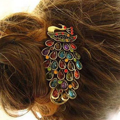 Hairpin - Multicoloured Crystal Gem Hairpin Peacock Hairpin Clip