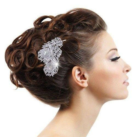 Hairpin - Peacock Feather Hair Comb Tiara Drop Rhinestone Crystal Hair Accessories