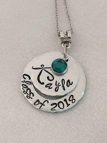 0111677795726 Class of 2018 Necklace - Personalized - Hand Stamped - Graduation Jewelry -  Layered Graduation Necklace - Graduation Year Necklace - Name