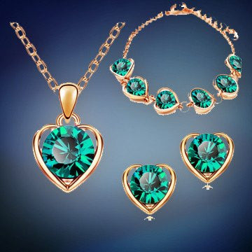 Jewelry Set - 18K Gold & Silver Plated Crystal Heart Shape Fashion Costume Jewelry Set