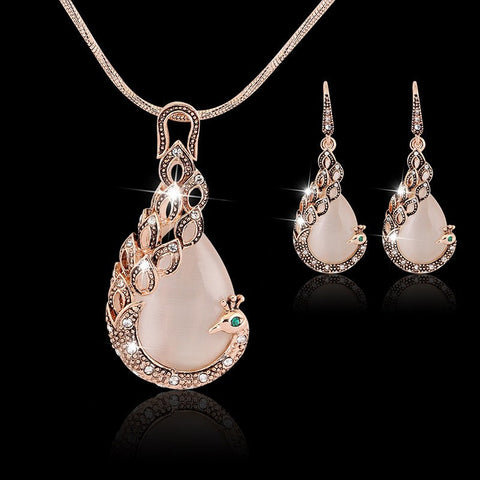 Jewelry Set - 18k Yellow Gold Filled Pink Opal Peacock Necklace & Earring Jewelry For Women