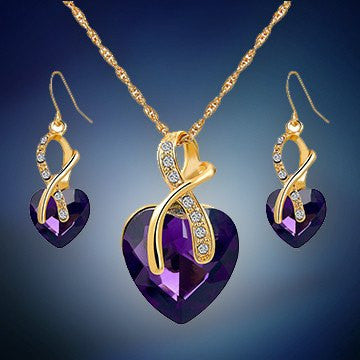 Jewelry Set - Austrian Crystal Heart Jewelry Set