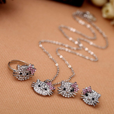 Jewelry Set - Clear Rhinestone Fashion Cat Jewelry Necklace