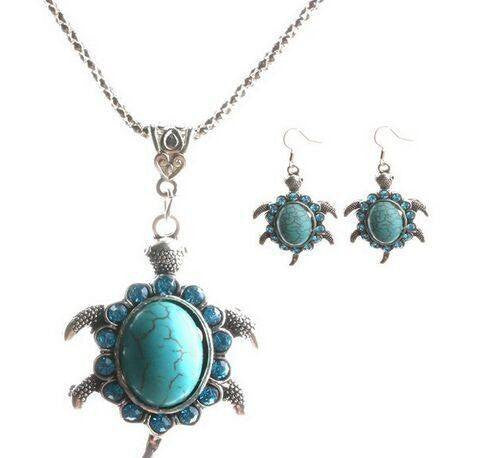 Jewelry Set - Cute Design Small Crystal Turtle Turquoise Beads Necklace Earrings Jewelry