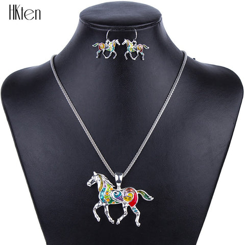 Jewelry Set - Horse Jewelry Sets High Quality Silver Plated Multicolor Horse Necklace & Earring Set Animal Jewelry Party Gifts