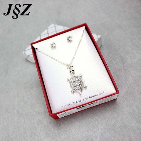 Jewelry Set - Silver Plated Turtle Pendants Necklace Crystal Jewelry
