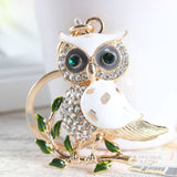 Key Chain - Cute Owl Branch White Crystal Key Chain - Save 50% Off Sale