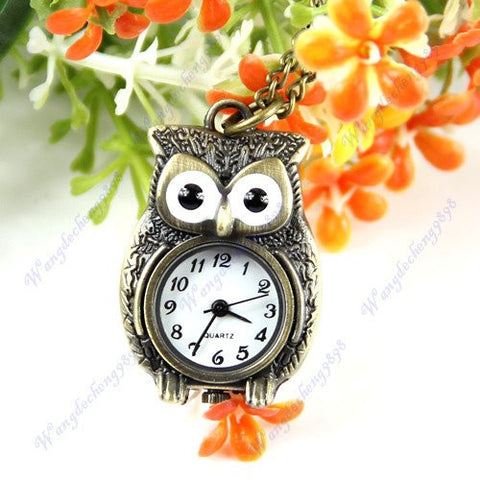 Knecklace - Owl Pendant Quartz Necklace Chain Watch