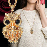 Necklace - 18K Gold Owl Long Chain Necklace