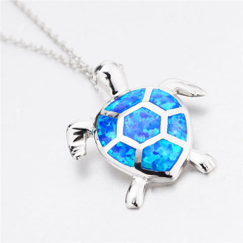 Necklace - 925 Sterling Silver Necklace Chain With Blue Opal Turtle Pendants Necklace
