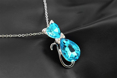 Necklace - Crystal Cat 18KGP Pendant Chain Necklace