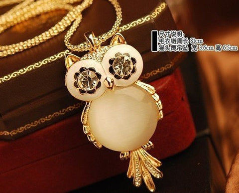 Cute opal owl pendant necklace long chain blue lion jewels necklace cute opal owl pendant necklace long chain aloadofball Image collections