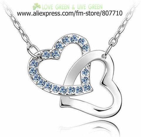 Necklace - Double Heart Austria Crystal Necklace - 50% Off Sale!