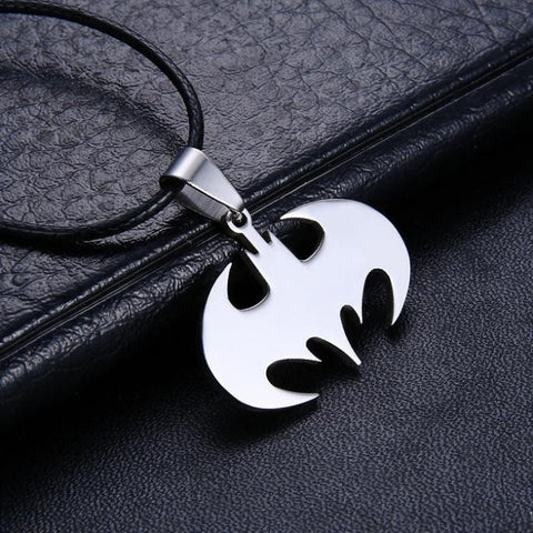 Necklace - Fashion Jewelry Slippy Bat Sign Pendant 316L Stainless Steel Necklaces Leather Chain Necklace