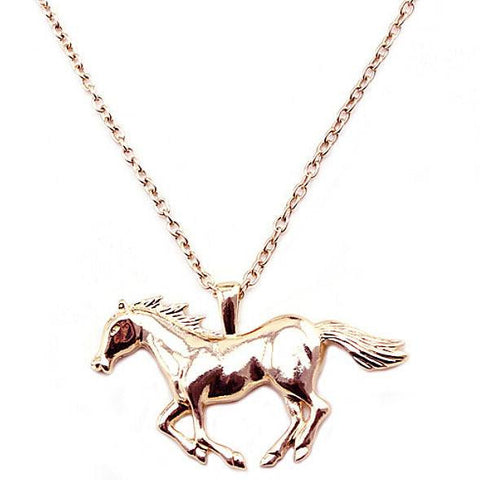 "Necklace - Fashion Necklace Silver/Gold Jewelry Running Horse Pendant 27""Necklace"