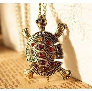 Necklace - Fashion Turtle Pendant Necklace Vintage Cute Sweater Chain Necklace