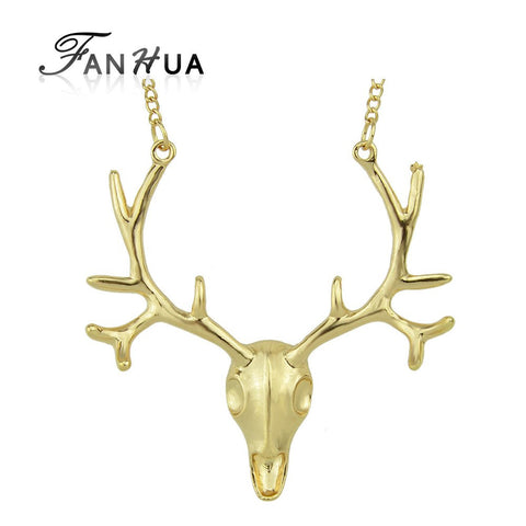 Necklace - Gold And Antique Silver Deer Head Pendant Necklace