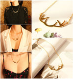 Necklace - Gold Deer Horn Antlers Necklaces & Pendants Choker Chain Necklace