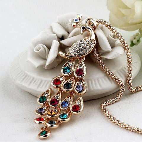 Necklace - Gold Plated Rhinestone Colorful Peacock Long Necklace & Pendants