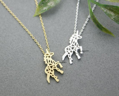Necklace - Gold Silver Beautiful Unicorn Horse Necklace