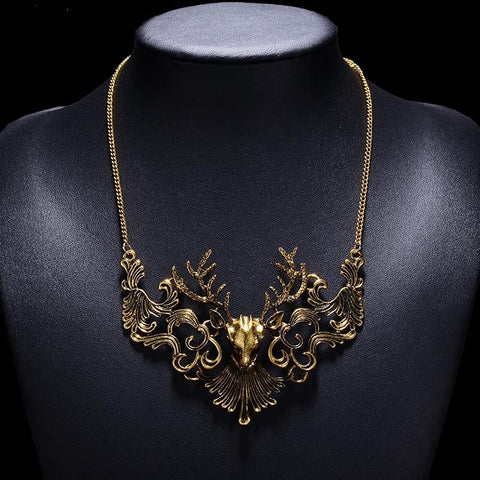 Necklace - Jewelry Bijoux Collier Femme Choker Collar Necklace Antique Gold Retro Bronze Silver Deer Head Necklace