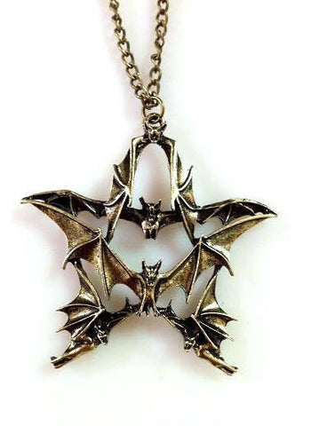 Necklace - New Arrived Male And Female Models Pentagram Necklace Retro Bat Fashion Necklace
