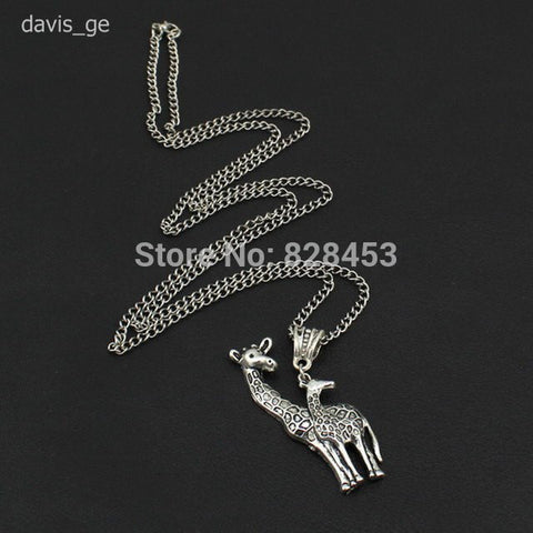Necklace - New Hot Sell DIY Women Jewelry Vintage Silver Love Giraffe Pendant Necklace 24""