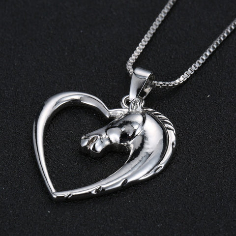 Plated white k horse in heart necklace pendant necklace blue lion necklace new jewelry plated white k horse in heart necklace pendant necklace aloadofball Choice Image