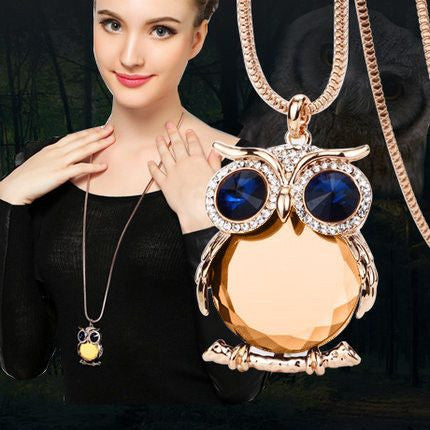 Necklace - Owl Necklace Box Chain Crystal Gold Plated Pendant Necklaces - 50% Off - Free Shipping