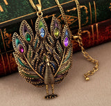 Necklace - Peacock Inlaid Multicolor Rhinestone Pendant Necklace