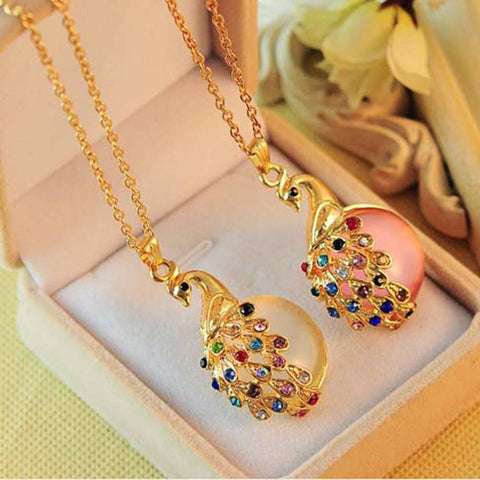Necklace - Peacock Necklaces Colorful Crystal Bohemia Gold Chain Fashion Necklace