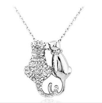 Necklace - Rhinestones Crystal Couple Cats Pendant 18K GP Necklace