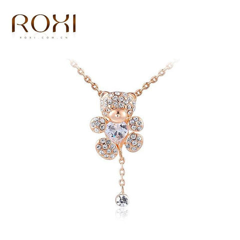 Roxi little bear pendant necklace with heart austrian crystals rose necklace roxi little bear pendant necklace with heart austrian crystals rose gold plated hand made aloadofball Gallery