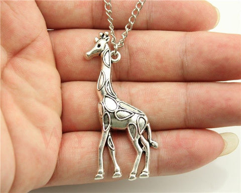 Necklace - WYSIWYG Fashion Simple Antique Silver Tone Giraffe Pendant Necklace , 70cm Chain Long Necklace