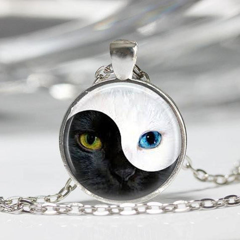 Necklace - YIN YANG Cat Pendant Glass Blue Cat Eye Silver Round Dome Necklace