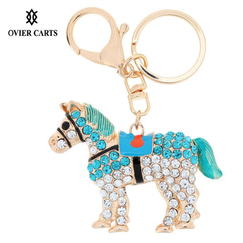 New Rhinestone Horse Charms KeyChain Keyring Crystal Pendants Purse Bag Key Chain Charms Pendant Jewelry