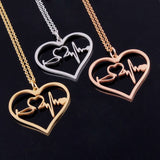 Nurse Medical Stethoscope Heartbeat Heart Charm Pendant Necklace  Rose Gold/Gold/Silver I Love You Jewelry Necklaces Bijoux