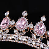 Elegant Pink Crystal Bridal Crown Classic Gold Tiaras for Women Wedding Hair Jewelry