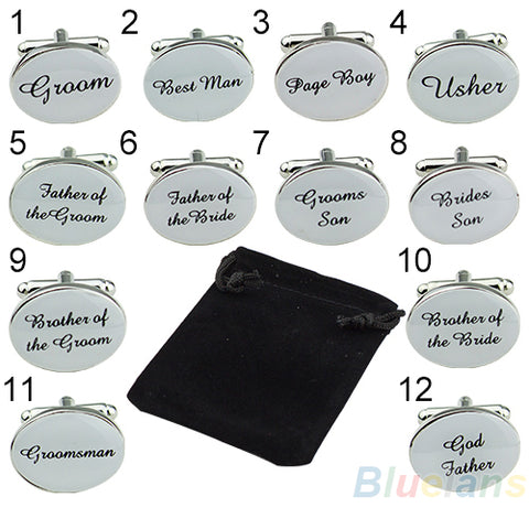 Groom to Groomsmen Oval Silver Color Cufflink Groom - Best Man - Usher - Wedding Gift